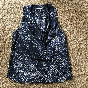 Cowl neck sleeveless blouse size L